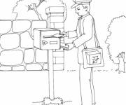 Free coloring and drawings The postman puts the letters in a box Coloring page