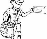 Free coloring and drawings The postman with a large bag carrying letters Coloring page