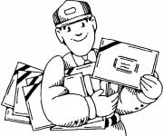 Free coloring and drawings The postman with easy letters Coloring page