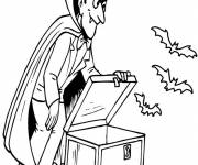 Coloring pages Vampire brings out his bats
