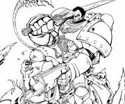 Coloring pages Powerful warrior in combat
