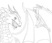 Coloring pages Warrior and Dragon