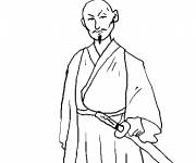 Coloring pages Warrior armed with a katana