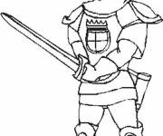 Coloring pages Warrior carrying his sword