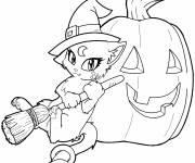 Coloring pages Halloween witch cat