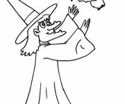 Coloring pages Witch and Bat