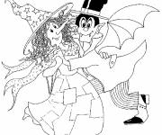 Coloring pages Witch and Dracula