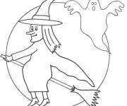 Coloring pages Witch and ghost