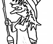 Coloring pages Witch and her broom