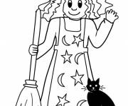Coloring pages Witch and her cat