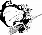 Coloring pages Witch and magic broom