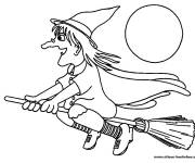 Coloring pages Witch and the moon
