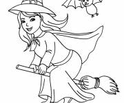 Coloring pages Witch on her broom in color