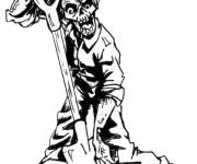 Coloring pages Zombie and the shovel