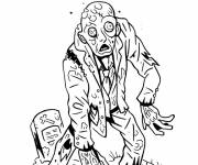 Coloring pages Zombie comes out of the grave