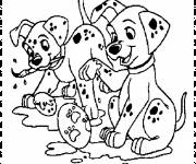 Free coloring and drawings Little Dalmatians paint Coloring page