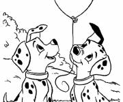 Free coloring and drawings Penny and Patch are holding a balloon Coloring page