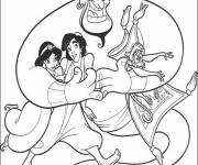 Coloring pages Aladdin and his friends