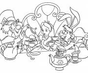 Coloring pages Alice in Wonderland drinks tea