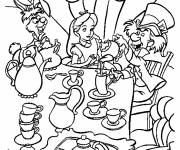 Coloring pages Alice in Wonderland sitting at the table