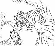 Coloring pages Alice in Wonderland with Chester Cat