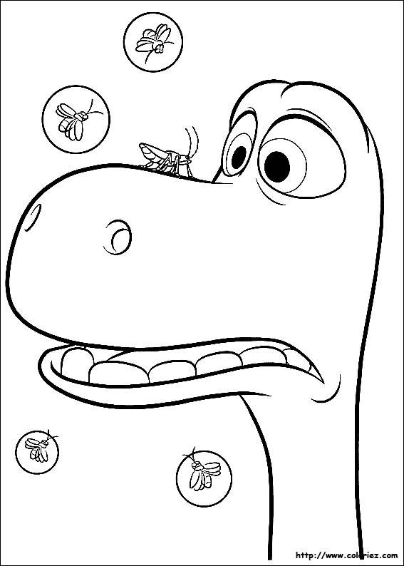 Free coloring and drawings The good dinosaur Arlo is scared Coloring page
