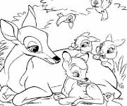 Coloring pages Bambi and his mother