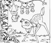Coloring pages Bambi talks to Ms. Opossum