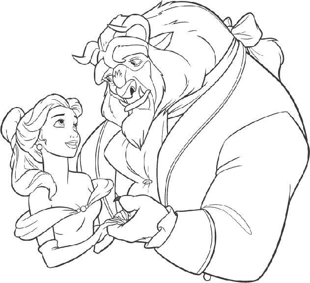 Free coloring and drawings Beauty admires beast Coloring page