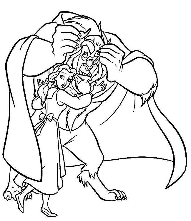 Free coloring and drawings Beauty and the beast are worried Coloring page