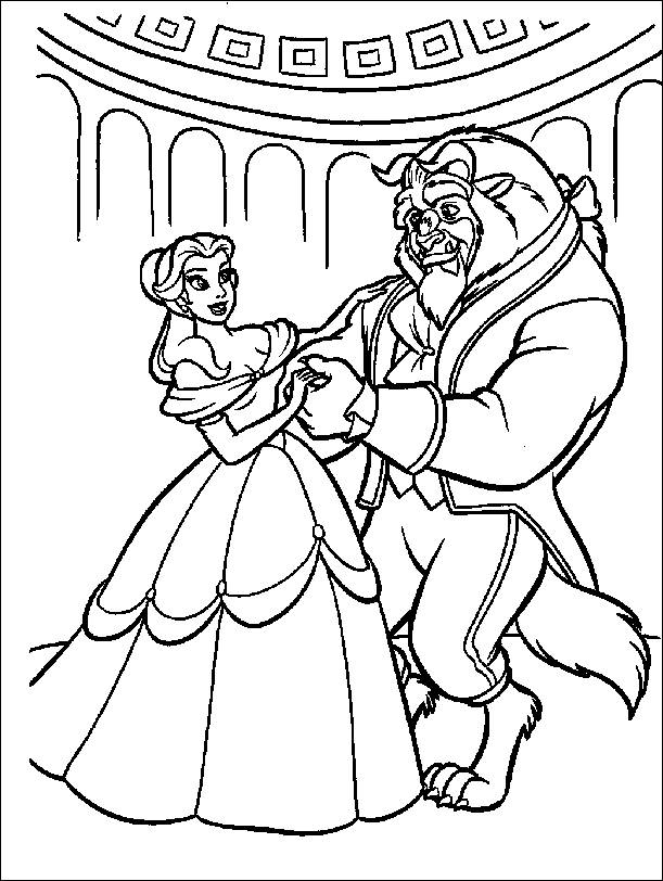 Free coloring and drawings Beauty and the beast dance Coloring page