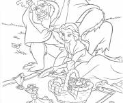 Coloring pages Beauty and the beast in picnic