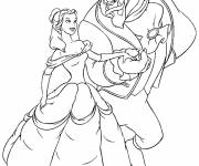 Coloring pages Beauty and the beast ready to dance