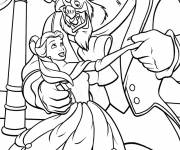 Coloring pages Beauty and the beast walking