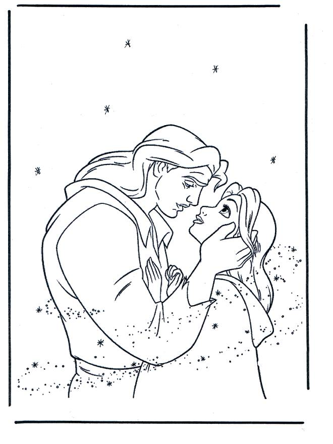 Free coloring and drawings Beauty and the transformed beast Coloring page