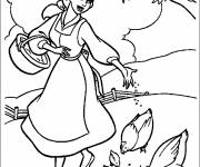 Coloring pages Beauty gives seeds to the hens