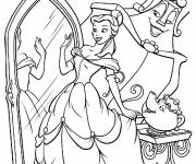 Coloring pages Belle looks at herself in the mirror