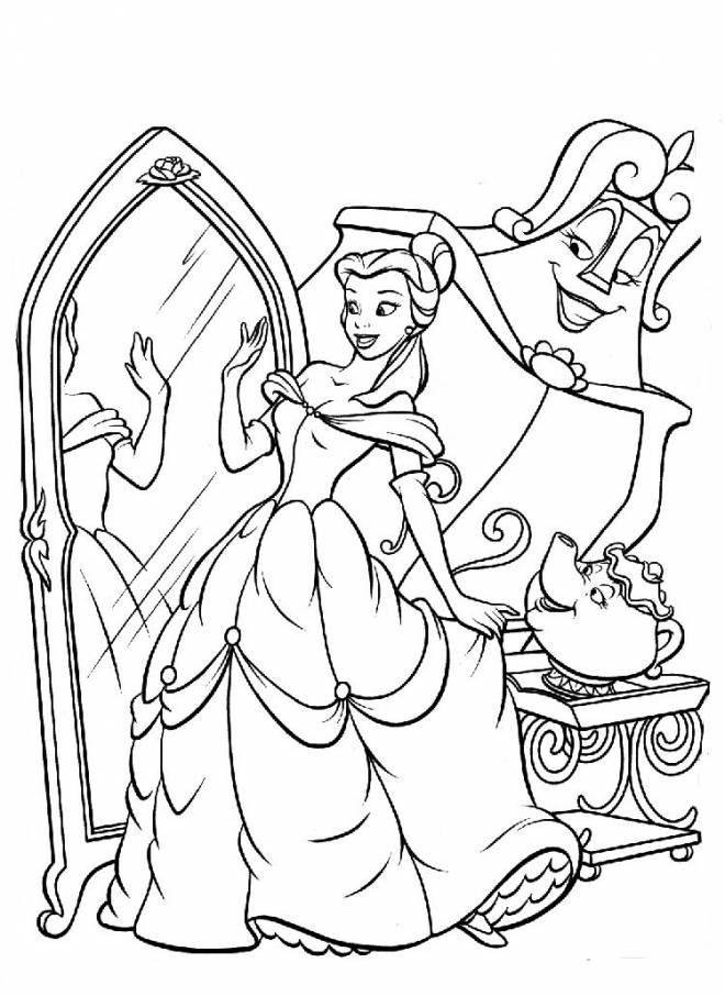 Free coloring and drawings Belle looks at herself in the mirror Coloring page