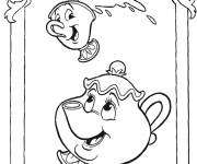 Coloring pages Mrs. Samovar and Zip: The beast and the beauty