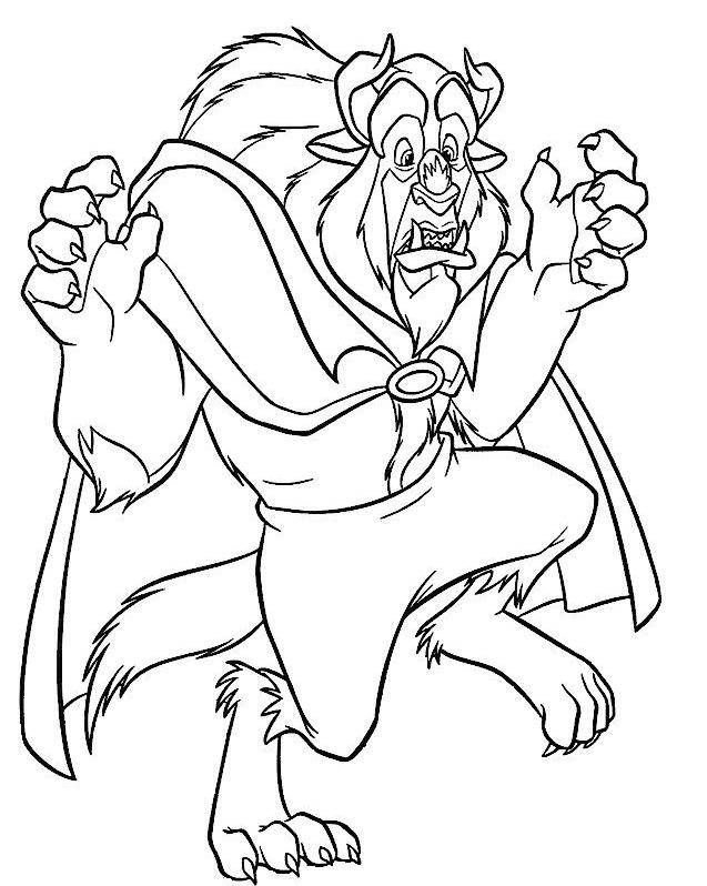 Free coloring and drawings The beast is surprised Coloring page