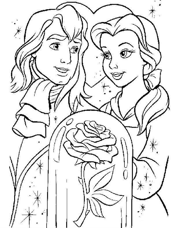 Free coloring and drawings The beautiful with her prince Coloring page