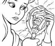 Coloring pages The beauty and her mirror