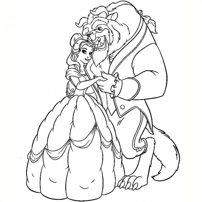 Free coloring and drawings The beauty and the Beast Coloring page