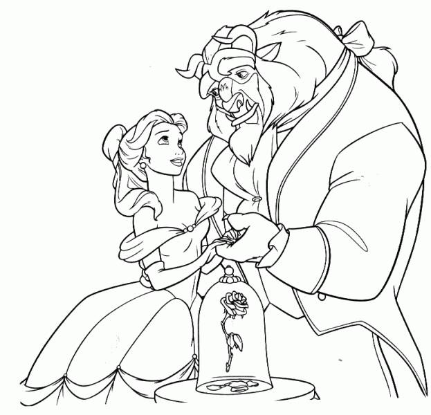 Free coloring and drawings The beauty holds the hand of the beast Coloring page