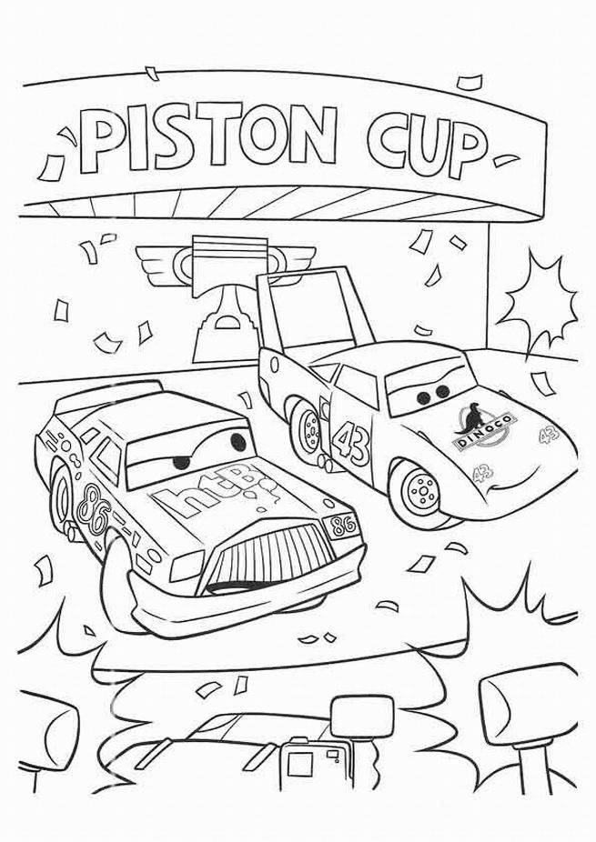 Free coloring and drawings Chick Hicks and Dinoco winners Coloring page