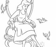 Coloring pages Cinderella and her shoe