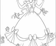 Coloring pages Cinderella getting ready for the ball