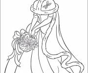 Coloring pages Cinderella with fruit leaves