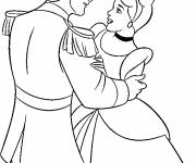 Coloring pages Handsome Prince and Cinderella