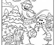 Coloring pages Club Penguin and the snow